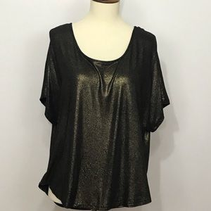 Juicy Couture blouse top gold black metallic boho
